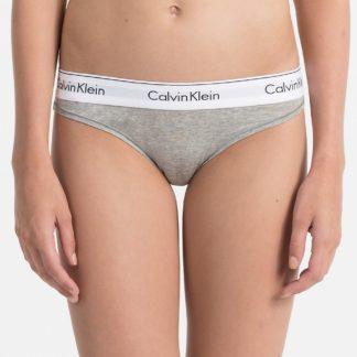 Calvin Klein šedé kalhotky s bílou širokou gumou Bikini