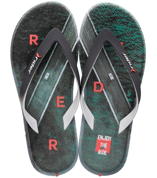 Rider barevné pánské žabky R1 Energy Ad Grey/Green/Orange