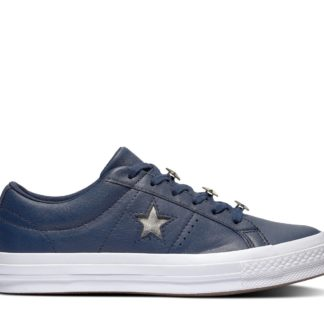 Converse modré kožené tenisky One Star Obsidian/Light Gold/White
