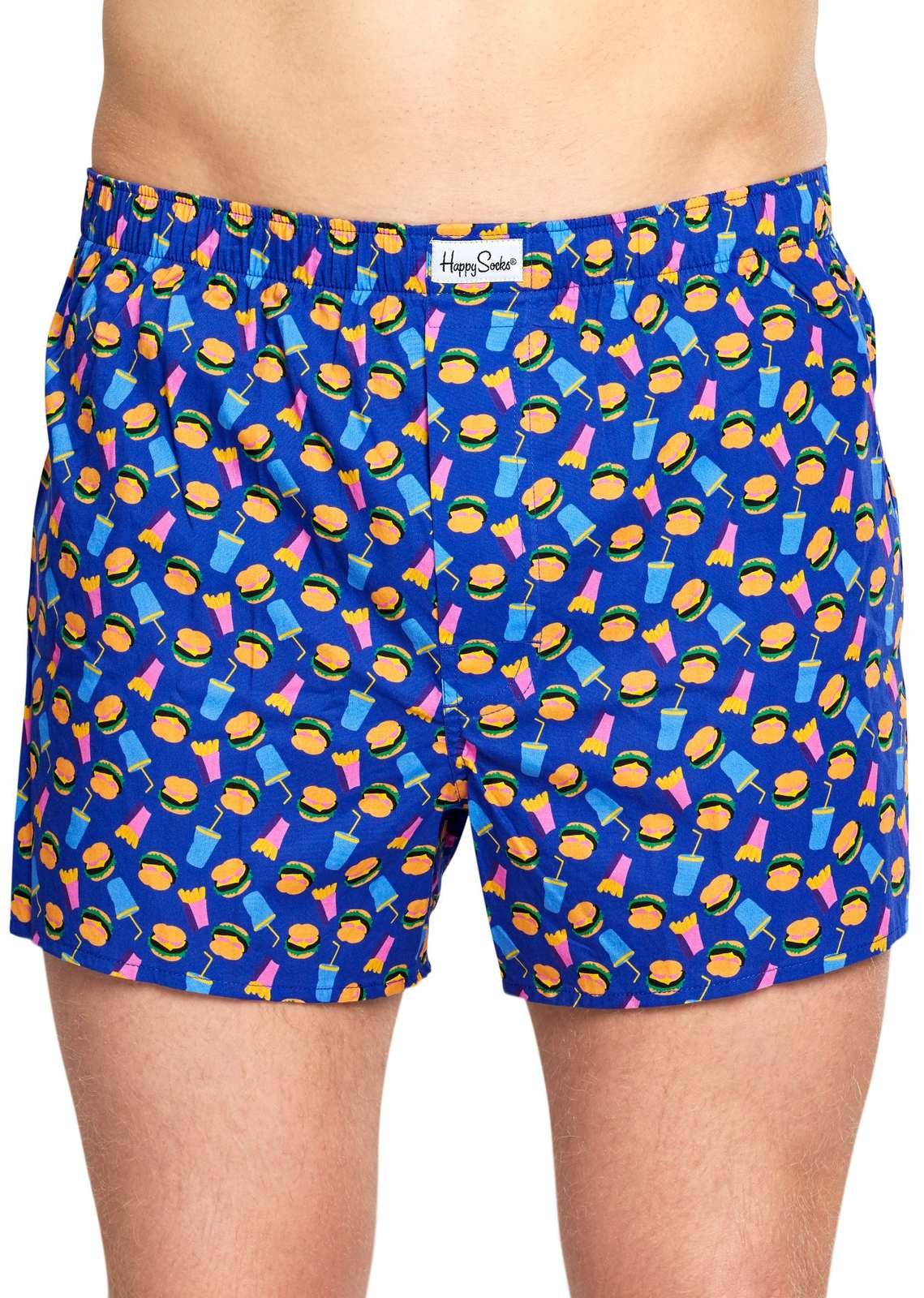 Happy Socks modré pánské trenýrky Hamburger Boxer