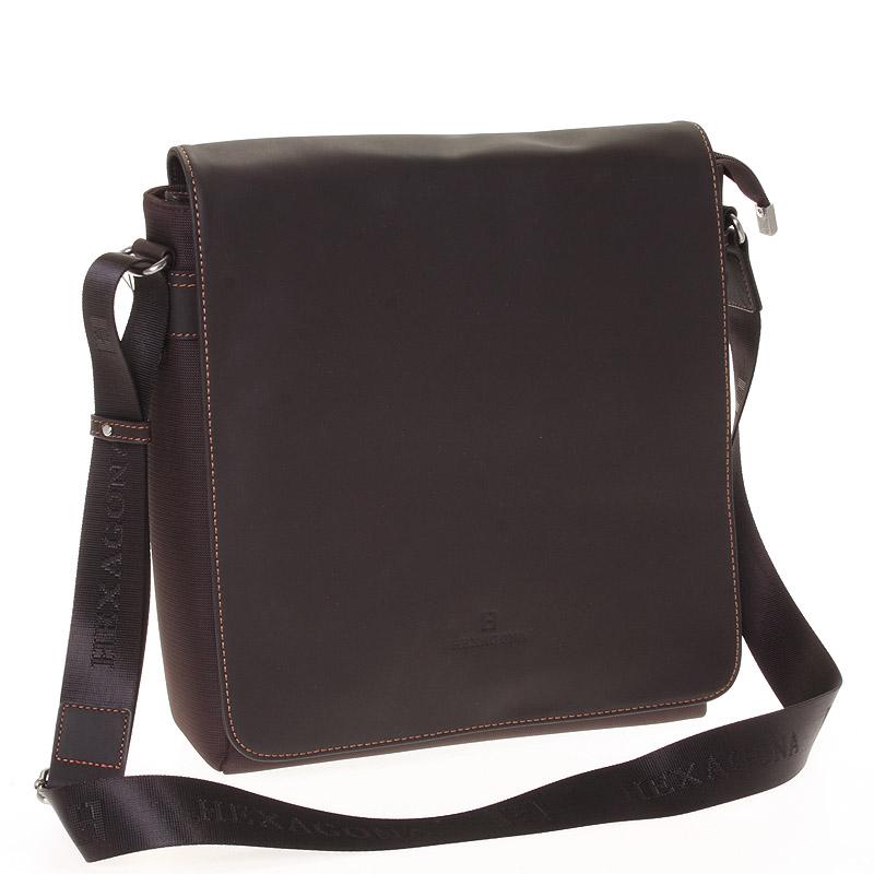 Luxusní pánská kožená taška hnědá - Hexagona 299163 hnědá
