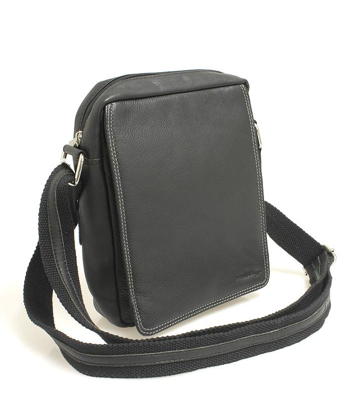 Černá kožená pánská taška přes rameno 52005 černá