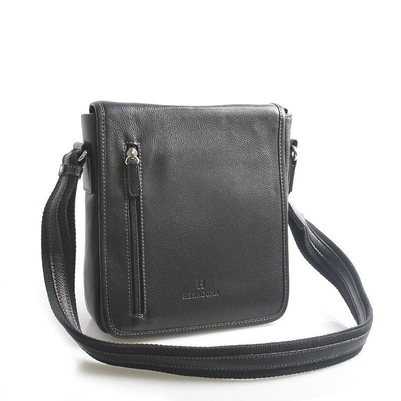 Černá kožená taška přes rameno Hexagona 461326 černá