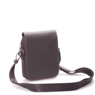 Luxusní pánská kožená kabelka přes rameno hnědá - Hexagona Filippo hnědá