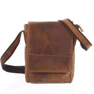 Kožená pánská crossbody taška na doklady světle hnědá 0213 hnědá