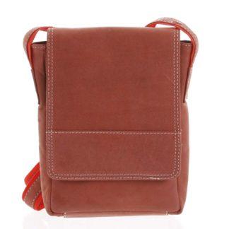 Kožená pánská crossbody taška na doklady červená broušená 0213 červená