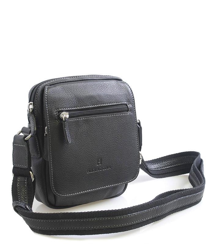 Luxusní černá kožená taška přes rameno Hexagona Xman černá