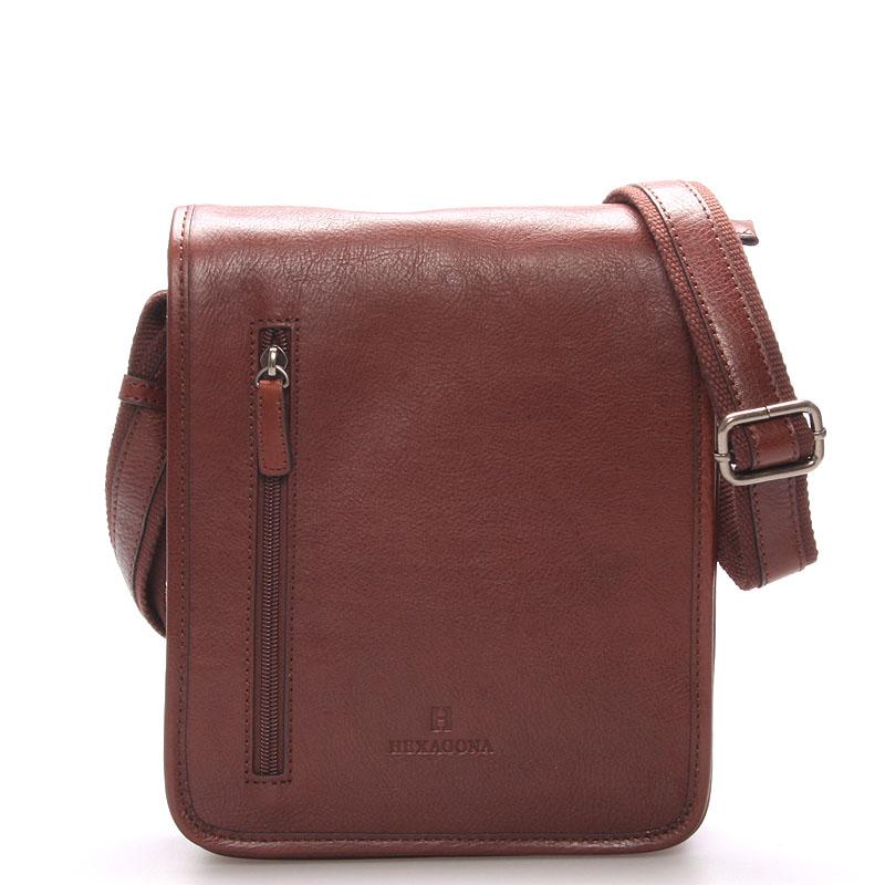 Hnědá luxusní kožená taška přes rameno Hexagona 23483 hnědá