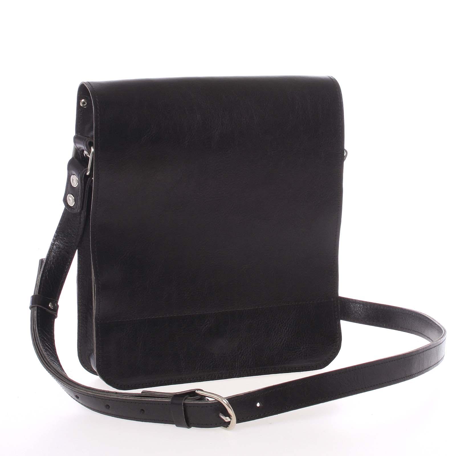 Černá luxusní kožená taška přes rameno Kabea Luxor-T černá
