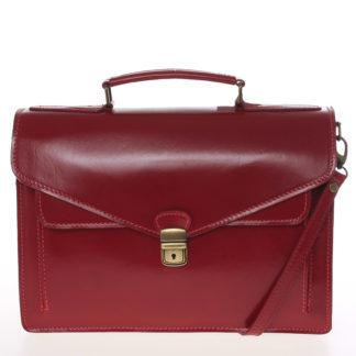 Luxusní červená kožená aktovka ItalY Kevin červená