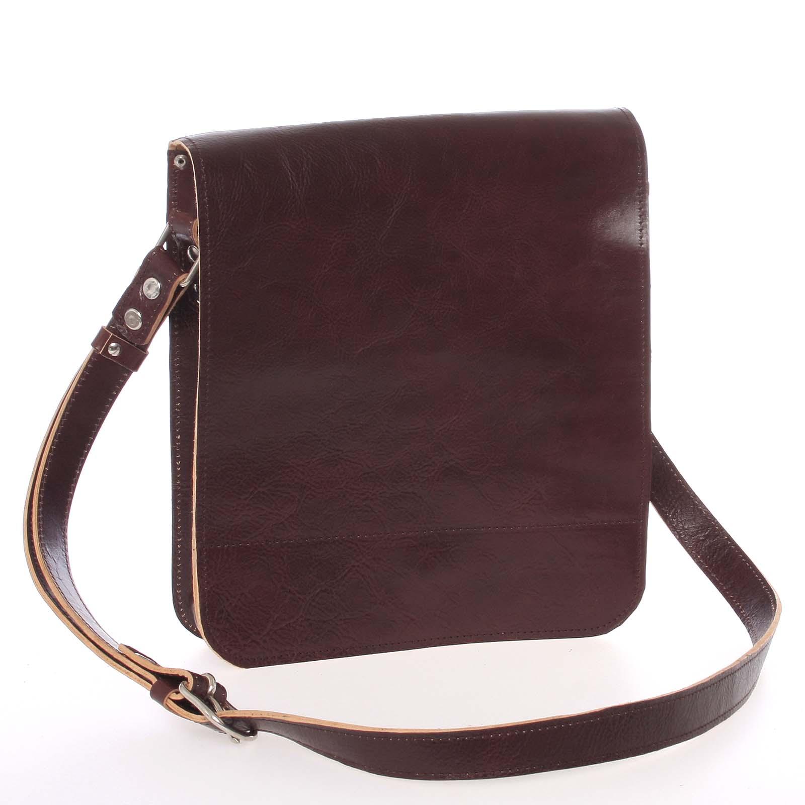 Tmavě hnědá luxusní kožená taška přes rameno Kabea Luxor-T hnědá