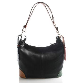 Černo barevná kožená kabelka přes rameno crossbody ItalY Harmony barevná