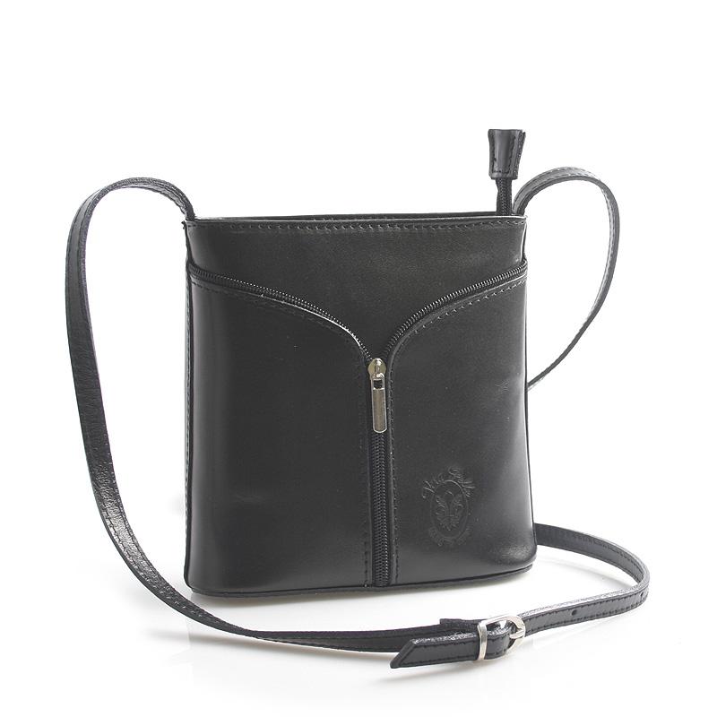 Černá kožená crossbody kabelka ItalY Hallie černá