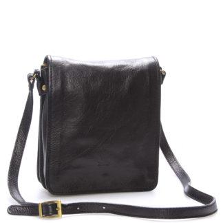 Luxusní černá kožená taška přes rameno ItalY Alonzo černá