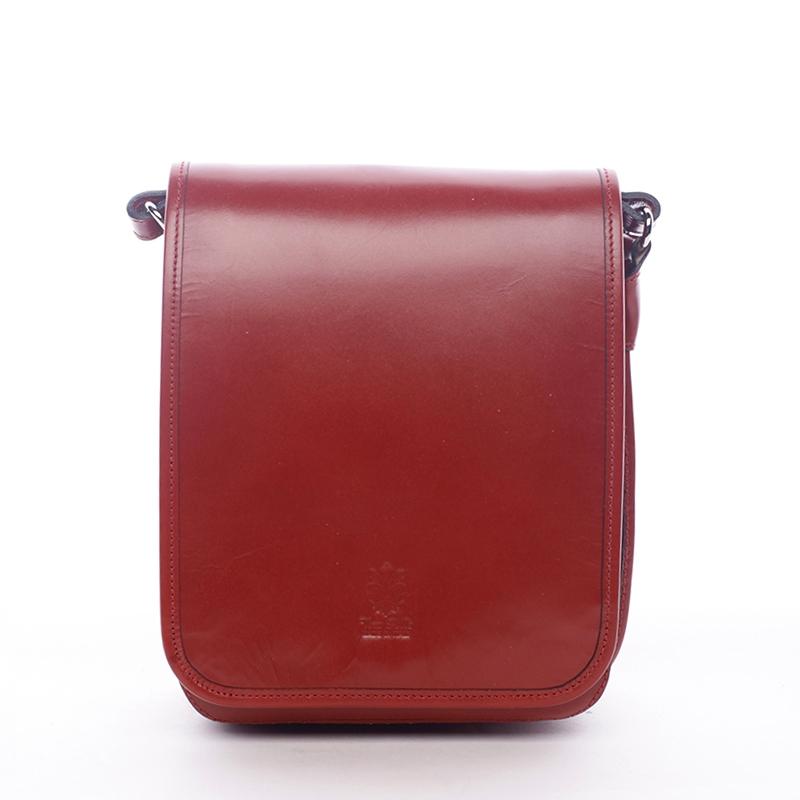 Luxusní červená kožená taška přes rameno ItalY Harper červená