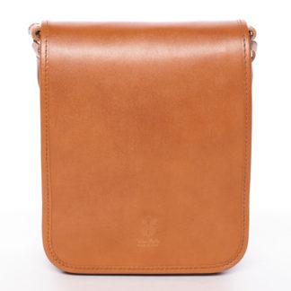 Luxusní světle hnědá kožená taška přes rameno ItalY Harper hnědá