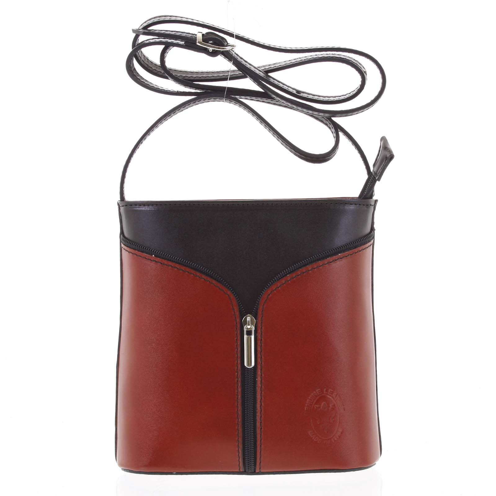 Dámská kožená crossbody kabelka červeno černá - ItalY Hallie červená