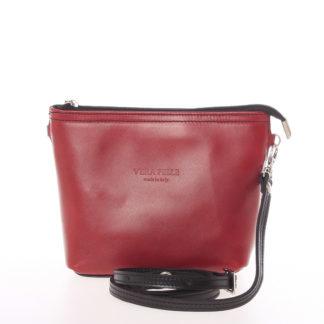 Dámská kožená crossbody kabelka červeno černá - ItalY Garnet červená