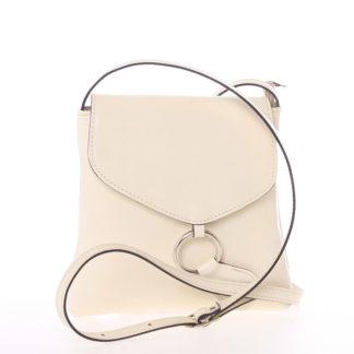 Dámská kožená crossbody kabelka béžová - ItalY Saffie béžová