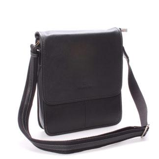 Luxusní pánská kožená taška přes rameno černá - Hexagona Marco černá