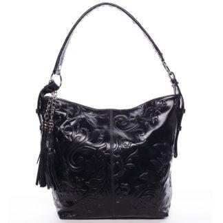 Dámská kožená kabelka přes rameno černá - ItalY Heather černá
