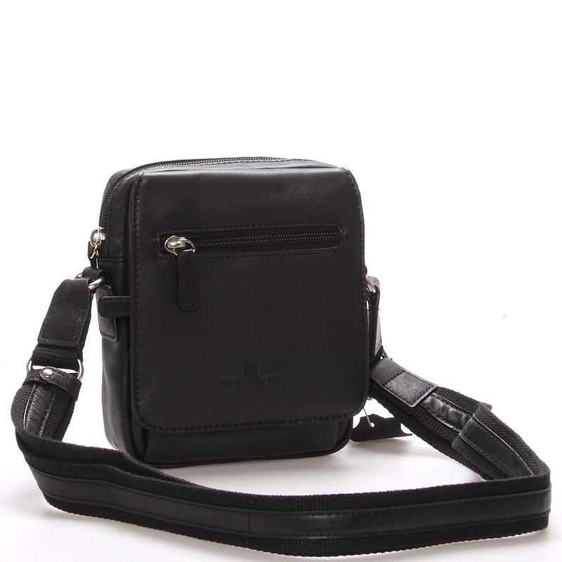 Luxusní pánská kožená taška přes rameno černá - Hexagona Eriq černá