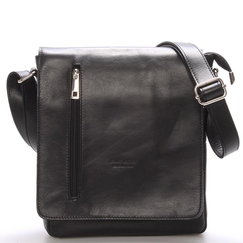 Módní větší černá kožená kabelka přes rameno - ItalY Quenton černá