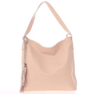 Módní kožená kabelka přes rameno světle růžová - ItalY Georgine růžová