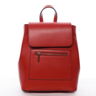 Dámský městský batoh kožený červený - ItalY Bernadea červená