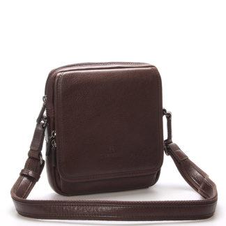 Luxusní hnědá kožená taška přes rameno Hexagona 129898 hnědá