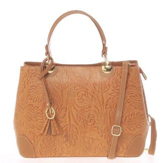 Originální dámská kožená kabelka světle hnědá - ItalY Mattie hnědá