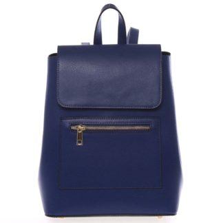 Dámský městský batoh kožený tmavě modrý - ItalY Bernadea modrá