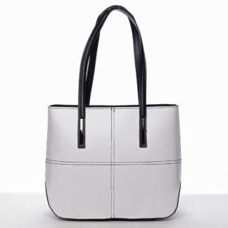 Moderní dámská kožená kabelka bílo černá - ItalY Adalicia bílá