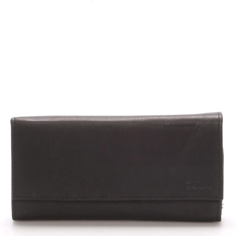 Velká kožená černá peněženka - Delami Juse černá