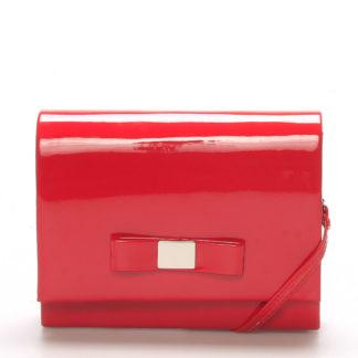 Luxusní dámské psaníčko červené lesklé - Delami Chicago Fresno červená