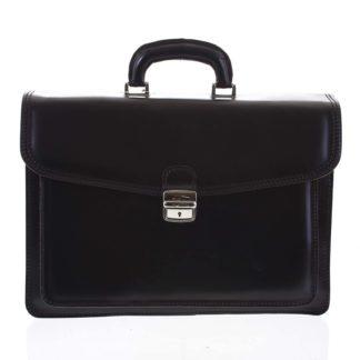 Jemná pánská kožená aktovka černá - ItalY K17 EX černá