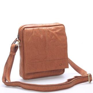 Pánská světle hnědá prošívaná kožená taška - Sendi Design Bris hnědá