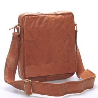 Luxusní velká kožená crossbody taška světle hnědá - Sendi Design Diverze hnědá