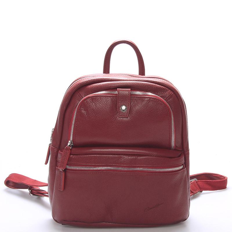 Jemný kožený dámský batůžek červený - Gerard Henon Comtessa červená
