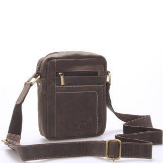 Pánská kožená taška přes rameno tmavě hnědá - WILD Mason hnědá
