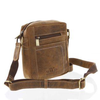 Pánská kožená taška přes rameno světle hnědá - WILD Mason Taupe