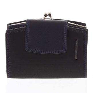 Luxusní dámská kožená peněženka černo modrá - Bellugio Armi černá