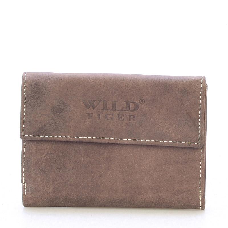 Moderní větší kožená peněženka tmavě hnědá - WILD Hades hnědá