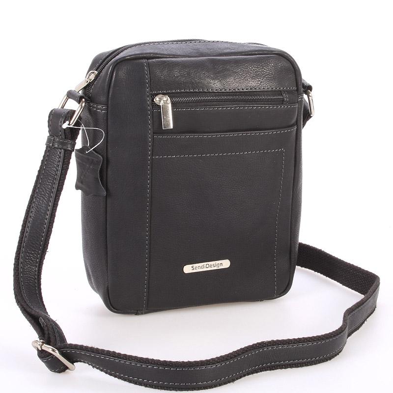 Perfektní pánská černá kožená taška - Sendi Design Halir černá
