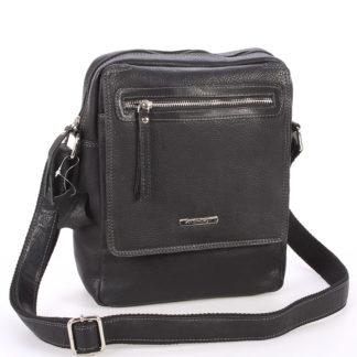 Černá kožená pánská taška přes rameno - Sendi Design Helio černá