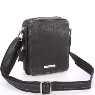 Menší černá pánská kožená taška - Sendi Design Merl černá