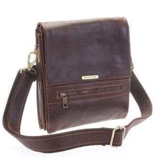 Kvalitní hnědá pánská kožená taška - Sendi Design Hektor hnědá