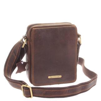 Menší hnědá pánská kožená taška - Sendi Design Merl hnědá