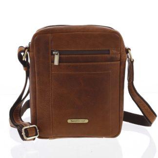 Perfektní pánská světle hnědá kožená taška - Sendi Design Halir hnědá