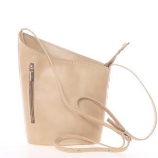 Originální světlá taupe kožená crossbody kabelka - ItalY Meidi Taupe